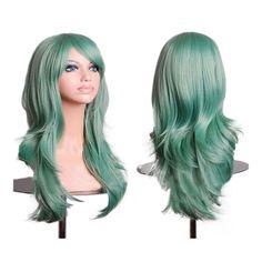 "27.5"" 70cm Long Wavy Curly Cosplay Fashion Mermaid Fantasy Wig heat resistant light green"