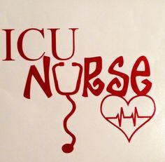 ICU Nurse with Heart and Ekg Rhythm Vinyl Car Decal. by FinnzUp, $7.50
