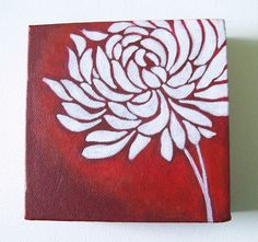 Chrysanthemum - Original Painting on Canvas 5 x 5 inches | Flickr - Photo Sharing!