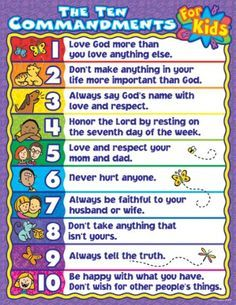 Carson Dellosa Publications The 10 Commandments for Kids Chart Bible Study For Kids, Bible Lessons For Kids, Kids Bible, Preschool Bible, Bible Activities For Kids, Bible Games, Baby Activities, Scriptures For Kids, Bible Trivia