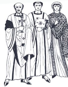 The Early Middle Ages Byzantine tunics and dalmatic  Woman decorated palla Clavi Stole Orphrey garnache herigaut