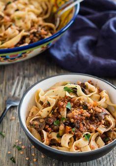 Spicy Red Lentil and Mushroom Pasta
