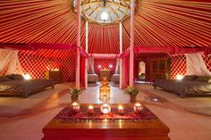 pink yurt decor