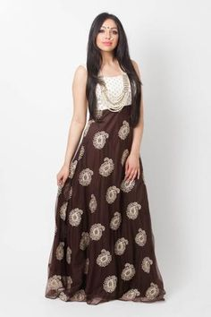 Maxi dress featuring embroidered brocade and net with gold motifs. Included in your purchase: Maxi dressShipping: Estimated arrival time is weeks Care inst Sari Dress, Indian Outfits, Indian Clothes, Blouse Styles, Indian Fashion, Gowns, Style Inspiration, Crop Tops, Stylish