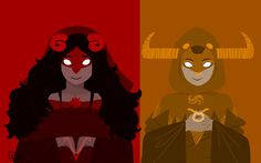 "Troll Gods - Aradia and Tavros ""The Maid: prayed to for longer summers and shorter winters The Page: prayed to for speed"" by nequius"