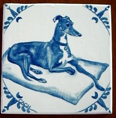 Hand-glazed Dutch-style tile with greyhound by Lisa Cach Greyhound Kunst, Delft Tiles, Lurcher, Grey Hound Dog, Dog Paintings, Italian Greyhound, Dog Pictures, Greyhound Pictures, Dog Art