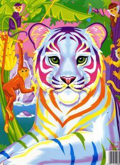 lisa frank, art, rainbow, animals,1990s, tigers, monkeys