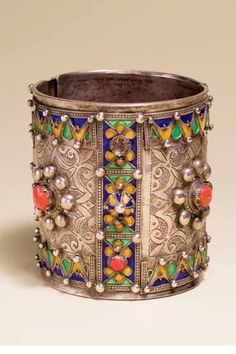 Algeria ~ Great Kabylie | Large bracelet ~ Amesluh ~ silver, enamel and coral. Beni Yenni people | ca. 19th or 20th century | ©Desert Jewels Catalogue; photography from the Xavier Guerrand-Hermès Collection