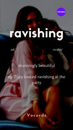 Ravishing means stunningly beautiful English Idioms, English Phrases, Learn English Words, English Learning Spoken, English Language Learning, Spanish Language, French Language, Interesting English Words, Idioms And Phrases