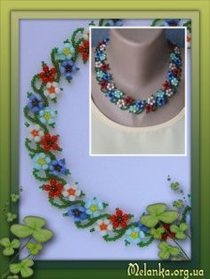 Apps melanka - Part 9 Seed Bead Necklace, Seed Bead Bracelets, Necklace Charm, Seed Bead Flowers, Beaded Flowers, Beading Tutorials, Beading Patterns, Beaded Necklace Patterns, Handmade Beads