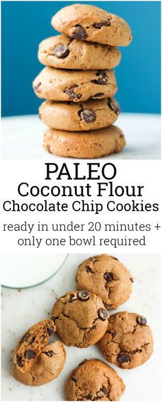 Paleo Coconut Flour Chocolate Chip Cookies, Desserts, Whip up these coconut flour chocolate chip cookies in under 20 minutes. Only 1 bowl needed! They& grain free, paleo, gluten free and dairy free. Dessert Sans Gluten, Paleo Dessert, Gluten Free Desserts, Dessert Recipes, Low Gi Desserts, Clean Eating Desserts, French Desserts, Recipes Dinner, Coconut Flour Recipes