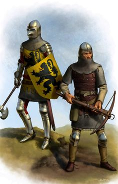 French knight and crossbowman at the Battle of Crecy, Hundred Years War- by jasonjuta