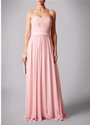 Almond Pink strapless sweet heart rouched top prom dress. #prom #almondpink #almond #pink #chiffon  #strapless #sweetheart #promdress #nighttoshine #prom2018 #adeavabridal