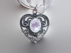 Sale Half Off Antique Style Silver Heart Pendant with by missy69