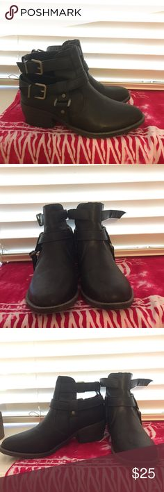Black Ankle Boots Black unworn ankle boots with buckles on the side. Shoes Ankle Boots & Booties