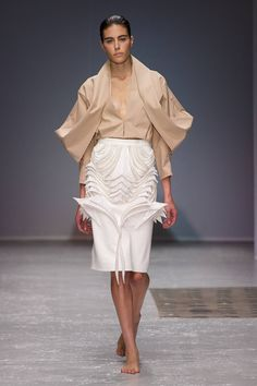 Wearable Art - sculptural fashion design with symmetrical draping & skirt with bold 3D pattern detail // Steffie Christiaens