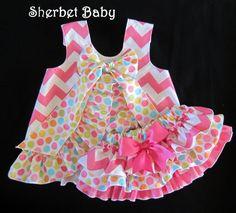Hot Pink Chevron with Ditty Dots Ruffled Pinafore Set Sassy Pants Ruffle Diaper Cover Bloomer