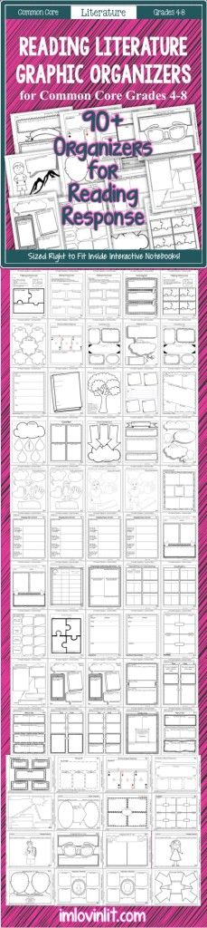 This pack includes over 90 graphic organizers for teaching the Common Core Reading Literature Standards for Grades 4-8. These are specifically designed to fit inside interactive notebooks, but can certainly be used even if you don't teach with notebooks. Difficulty of the graphic organizers range from simple to complex, allowing for differentiation in your classroom.