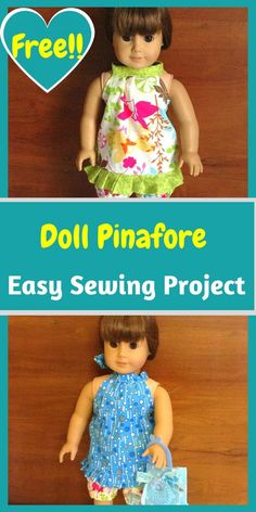 Doll Clothes Patterns, Doll Patterns, Diy Ag Dolls, Pinafore Dress Pattern, Dolly Doll, American Doll Clothes, Easy Sewing Projects, Doll Crafts, Sewing Patterns Free