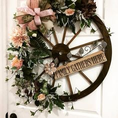 I'm offering a discount! Wreath Crafts, Diy Wreath, Diy Crafts, Wagon Wheel Decor, Deco Floral, Front Door Decor, How To Make Wreaths, Spring Crafts, Porch Decorating