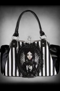 Grey Doll Cameo Striped Handbag by Restyle