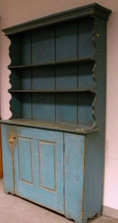 Country Blue-painted Pine Step-back Open Cupboard, ht. 78, wd. 50 1/2, dp. 14 in.