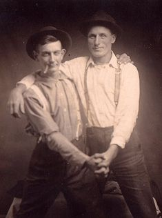 Two men in hats and suspenders, c. early 20th C.