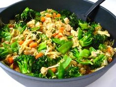 Chicken and Veggies Stir Fry, Low Calorie and Super Yummy! This new recipe is chock full of broccoli, pea pods, carrots, cabbage, onions and lean chicken breasts. One huge, fiber rich serving, 264 calories, 6 grams of fat and 7 Weight Watchers POINTS PLUS. http://www.skinnykitchen.com/recipes/chicken-and-veggies-stir-fry-low-calorie-and-super-yummy/