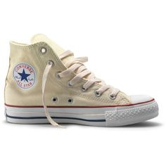 Converse All Star Hi Tops Chuck Taylor Size 6 Cream Off White Trainers ❤ liked on Polyvore