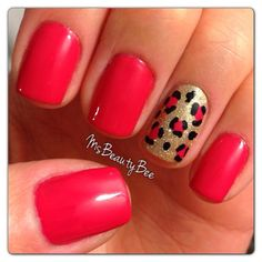 Hot Pink Leopard Animal Print Nails Base Color: Gelish All Dahlia-ed Up from the Spring 2013 Love in Bloom collection (Bright Pink). Accent Nail Colors: Gelish Meet the King (Gold frost) Bronzed on top (Gold glitter). Konad special polish in Black to outline the leopard spots.