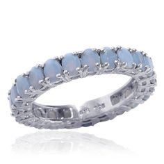 Liquidation Channel | Oregon Blue Opal Eternity Ring in Platinum Overlay Sterling Silver (Nickel Free)