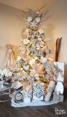 CHRISTMAS TREE~CREAM AND SILVER TREE