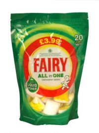 £2.99 - Fairy All In One Dishwasher Tablets Lemon 20 Pack Fairy all in one dishwasher tablets with Liquid Power.