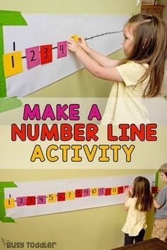 POST-IT NUMBER LINE ACTIVITY: A quick and easy preschool math activity; a number sense activity; a homeschool math activity; quick and easy indoor activity from Busy Toddler preschool Post-It Number Line Math Activity for Preschoolers Number Line Activities, Pre K Activities, Preschool Learning Activities, Preschool Lessons, Preschool Education, Preschool Projects, Learning Activities For Toddlers, Activities For 4 Year Olds, Number Recognition Activities