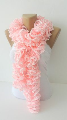 SALE Hand Knit Ruffled Scarf pink scarfUNDER 25pink and by seno, $25.00