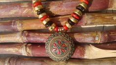Tibetan Pendant Necklace Huge Tribal Necklace Mosaic by HandyStar