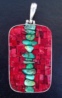 margo Anton mosaic pendant. love you turquoise and red!