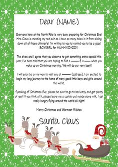 Personalized Printable Letter From Santa glamdesignstudio Glam