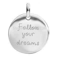 Personalized Custom Engraving Rhodium Plated Follow Your Dream Round Disc Message Charm