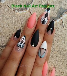 58 Cute And Elegant Acrylic Black Nails Design… 20 Simple Black Nail Art Design Ideas Nail Art Designs, Cute Acrylic Nail Designs, Black Nail Designs, Cute Acrylic Nails, Cute Nails, Pretty Nails, Nails Design, Salon Design, Nail Swag