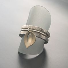 Image of Stackable Rings with 14k Leaf