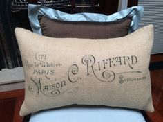 Burlap Pillow Cover  French Vintage Typography by SpoolsAndBobbins, $26.00