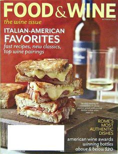 Buy any of our maazines and get another for 50% off. Italian American Favorite Recipes, Food & Wine Magazine, October 2010