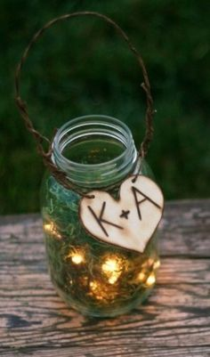 Initials on mason jar.  Rustic Wedding
