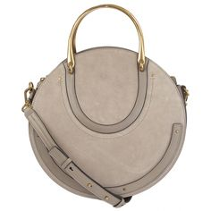 Chloé Pixie Double Handle Bag Taupe Suede & Leather