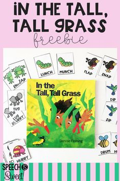 A freebie for In the Tall, Tall Grass! This freebie is a matching rhyming game and the cards can also be used for retelling the story. This book is wonderful for spring or summer speech therapy! It's also great for a bug theme! Preschool Speech Therapy, Speech Language Pathology, Speech And Language, Preschool Songs, Preschool Literacy, Preschool Bug Theme, Articulation Therapy, Receptive Language, Early Literacy
