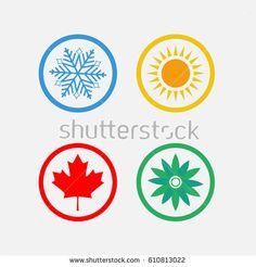 Season symbols, winter, spring, summer, autumn. Weather forecast. Design