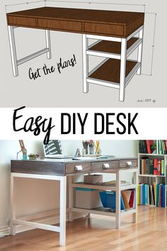 DIY Modern Farmhouse Desk with drawers and shelves to build for your home office and organize. The plans, video and full tutorial will lead you step by step. These DIY Desk Plans will make your office come to life. Woodworking Furniture, Diy Furniture, Woodworking Projects, Woodworking Plans, Diy Projects, Sketchup Woodworking, Furniture Design, Woodworking Blueprints, Woodworking Organization