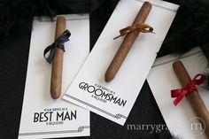 Your Service is Requested / Groomsman Best Man Usher Cigar Card, Deco Style #marrygrams