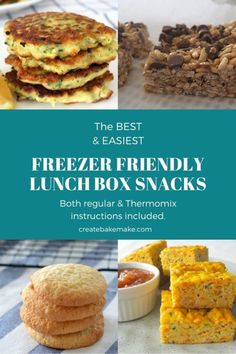 The Best Freezer Friendly Lunchbox Recipes. Both regular and Thermomix instructions included - Tattoo MAG Easy Snacks, Yummy Snacks, Easy Healthy Recipes, Easy Meals, Yummy Recipes, Cooking Recipes, Yummy Food, Lunch Box Recipes, Lunch Ideas
